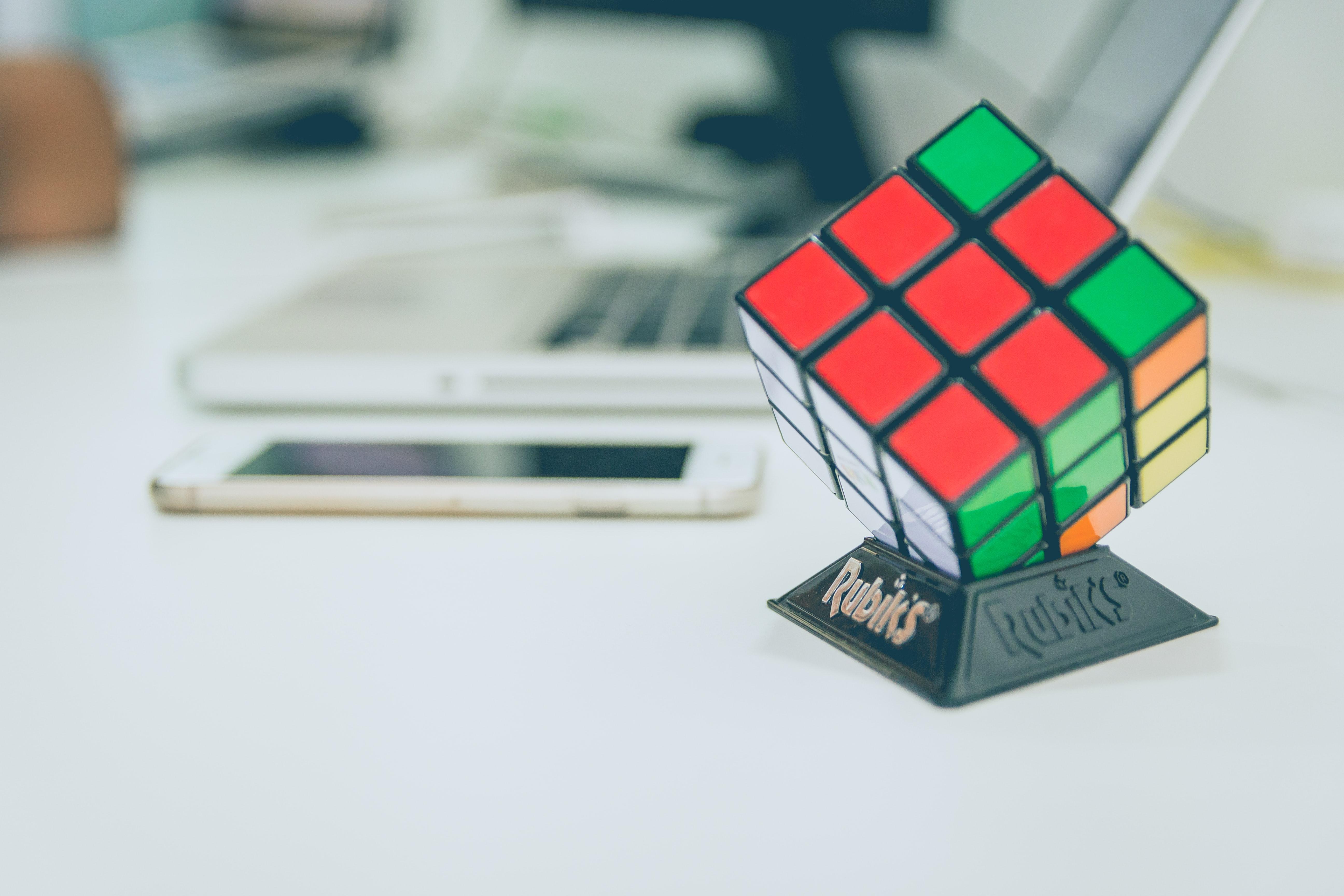 Rubix cube on white desk